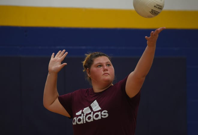Pequannock's Christie Huysers prepares to serve during volleyball practice at Pequannock High School in Pompton Plains on 08/27/18.