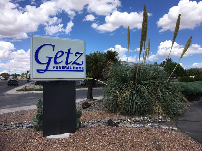 A sign marks the entrance to the Getz Funeral Home, 1410 E. Bowman Ave. in Las Cruces on Aug. 27, 2018.