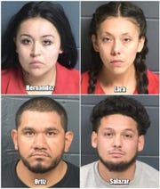Four suspects charged in connection to a fatal shooting of Las Crucen Raymond Hernandez on Sunday, Aug. 26, 2018 on Bowman Avenue were booked into the Doña Ana County Detention Center on Monday.