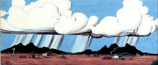 Hf1995 1 620bi Thunderstom Over Ranch Desert People 1962 Tempera On Paper