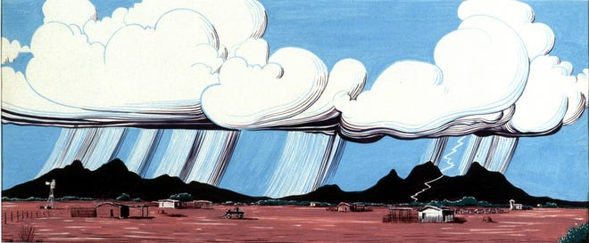 """The piece """"Thunderstorm Over Ranch"""" will be among the artwork by Allan Houser that will be on display in October at the Silver City Museum."""