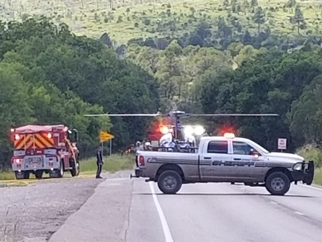 An Otero County Sheriff's Office unit temporarily blocks U.S. Highway 82 east of Mayhill after a Monday afternoon accident.