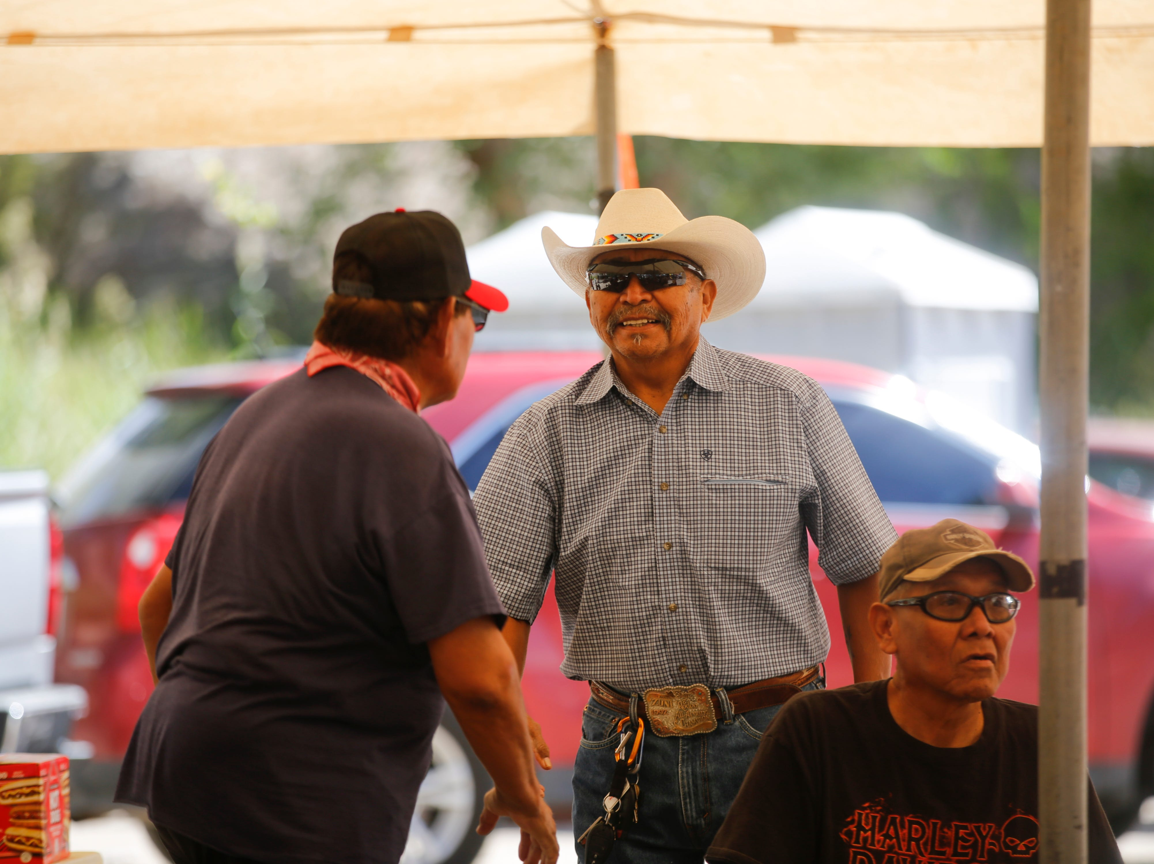 Navajo Nation Presidential candidate Tom Tso meets with voters, Tuesday, Aug. 28, 2018 at the Shiprock Chapter House.