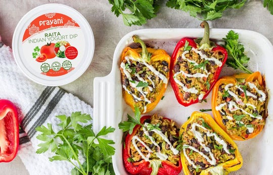 Stuffed peppers with Prayani Raita Indian Yogurt Dip