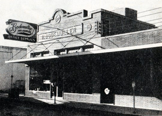 The Bodemuller Building on Bellevue Street in Opelousas as it appeared several years ago. This building, constructed in 1930,  is the only Bodemuller family building remaining in Opelousas today.