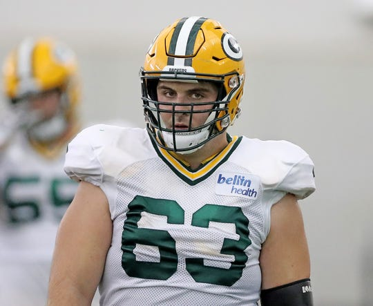 Packers center Corey Linsley is shown during a 2018 training camp practice.