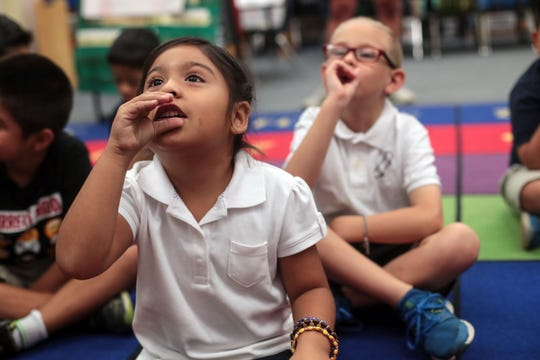 Angelisa Tostado and Ethan Merenda work on math in Brenda Valenzuela's first grade class on Tuesday, August 28, 2018 at Vista del Monte Elementary School in Palm Springs. Their class is part of a bilingual and biliteracy program run by the Palm Springs Unified School District.