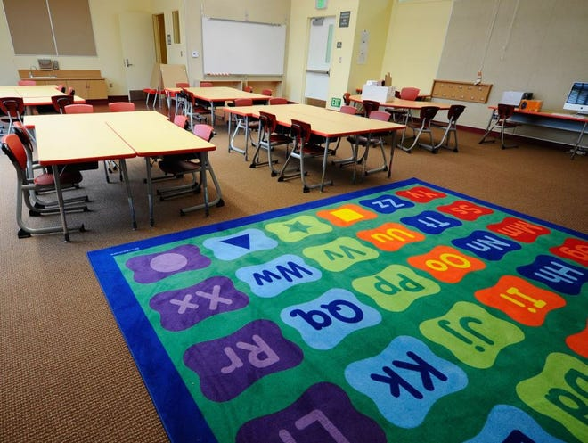 An empty classroom in California.