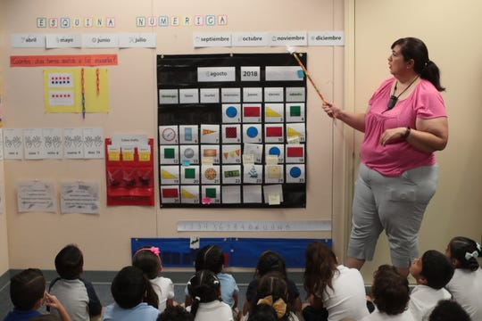 Cristina Tostado teaches her class in Spanish on Tuesday, August 28, 2018 at Vista del Monte Elementary School in Palm Springs. The class is part of the school's dual language immersion program.