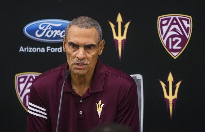 Arizona State University head coach Herm Edwards addresses the media at Sun Devil Stadium, Monday, August 27, 2018.