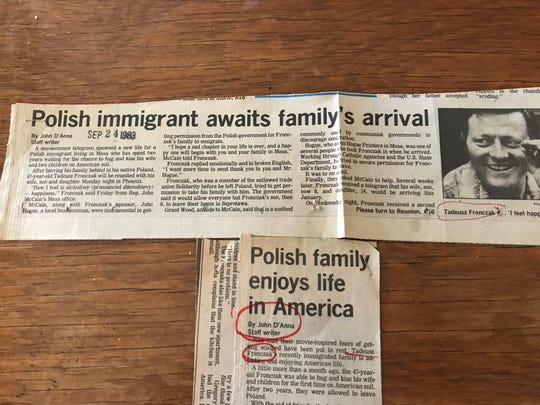 A newspaper clipping from the Mesa Tribune recounts the story of a Polish immigrant who sought help from then-Rep. John McCain.
