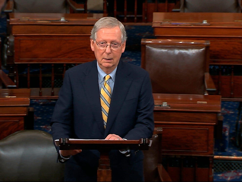 Senate Majority Leader Mitch McConnell speaks about Sen. John McCain on the floor of the U.S. Senate, Aug. 27, 2018, on Capitol Hill in Washington.
