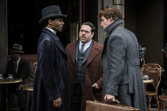 "(Left to Right) William Nadylam, Dan Fogler and Eddie Redmayne in ""Fantastic Beasts: The Crimes of Grindelwald"" (Nov. 16)."