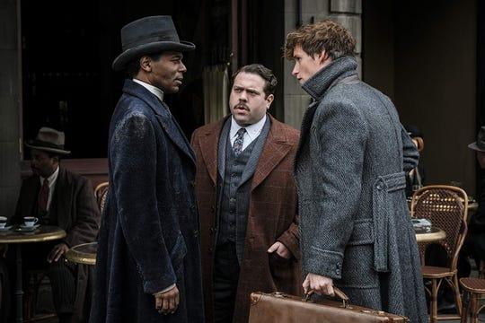 "(Left to Right) William Nadylam, Dan Fogler and Eddie Redmayne in ""Fantastic Beasts: The Crimes of Grindelwald"" (Nov. 16)."