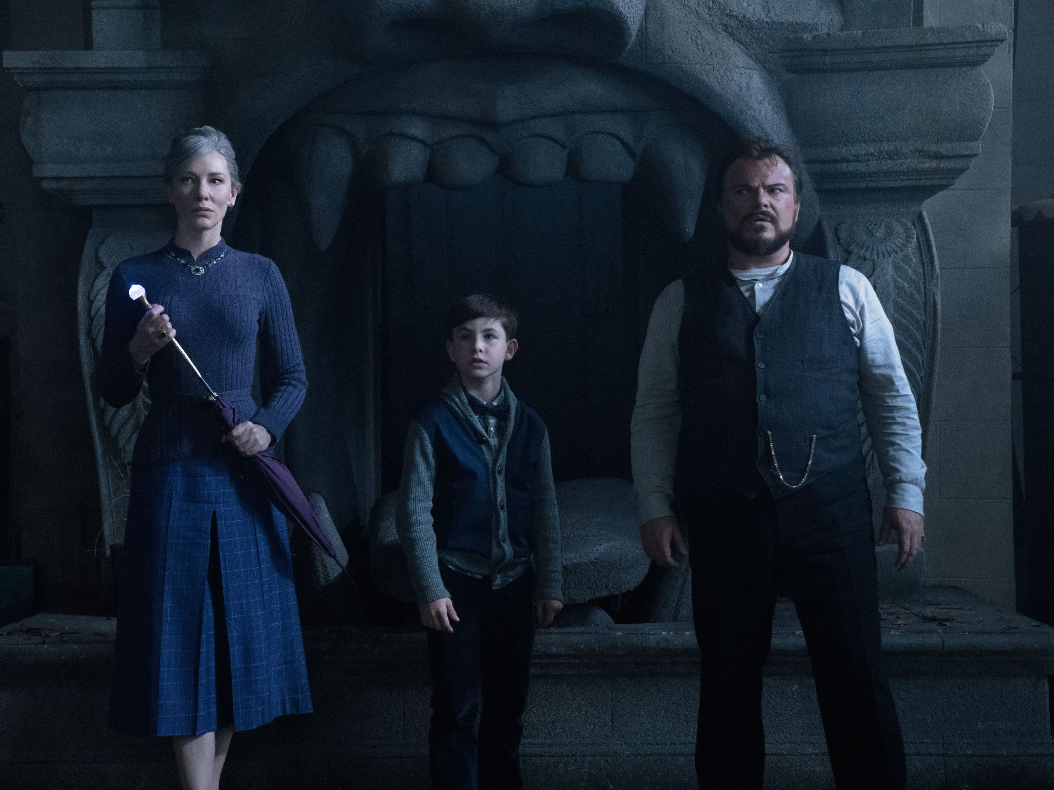 "Cate Blanchett, Owen Vaccaro and Jack Black in ""The House with a Clock in Its Walls."" (Sept. 21)"