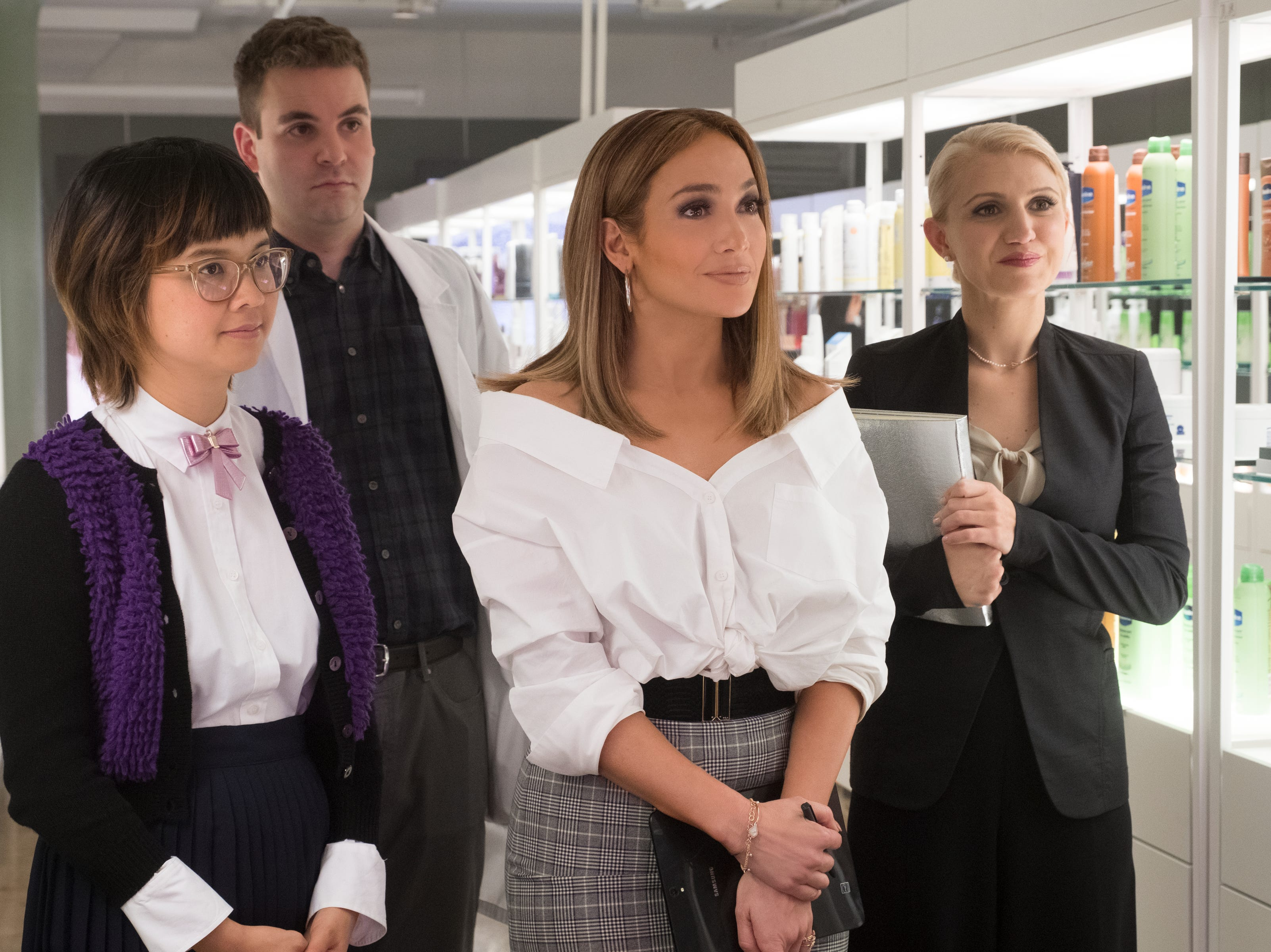 "(Left to Right) Charlyne Yi, Alan Aisenberg, Jennifer Lopez, and Annaleigh Ashford star in ""Second Act"" (Nov. 21)."