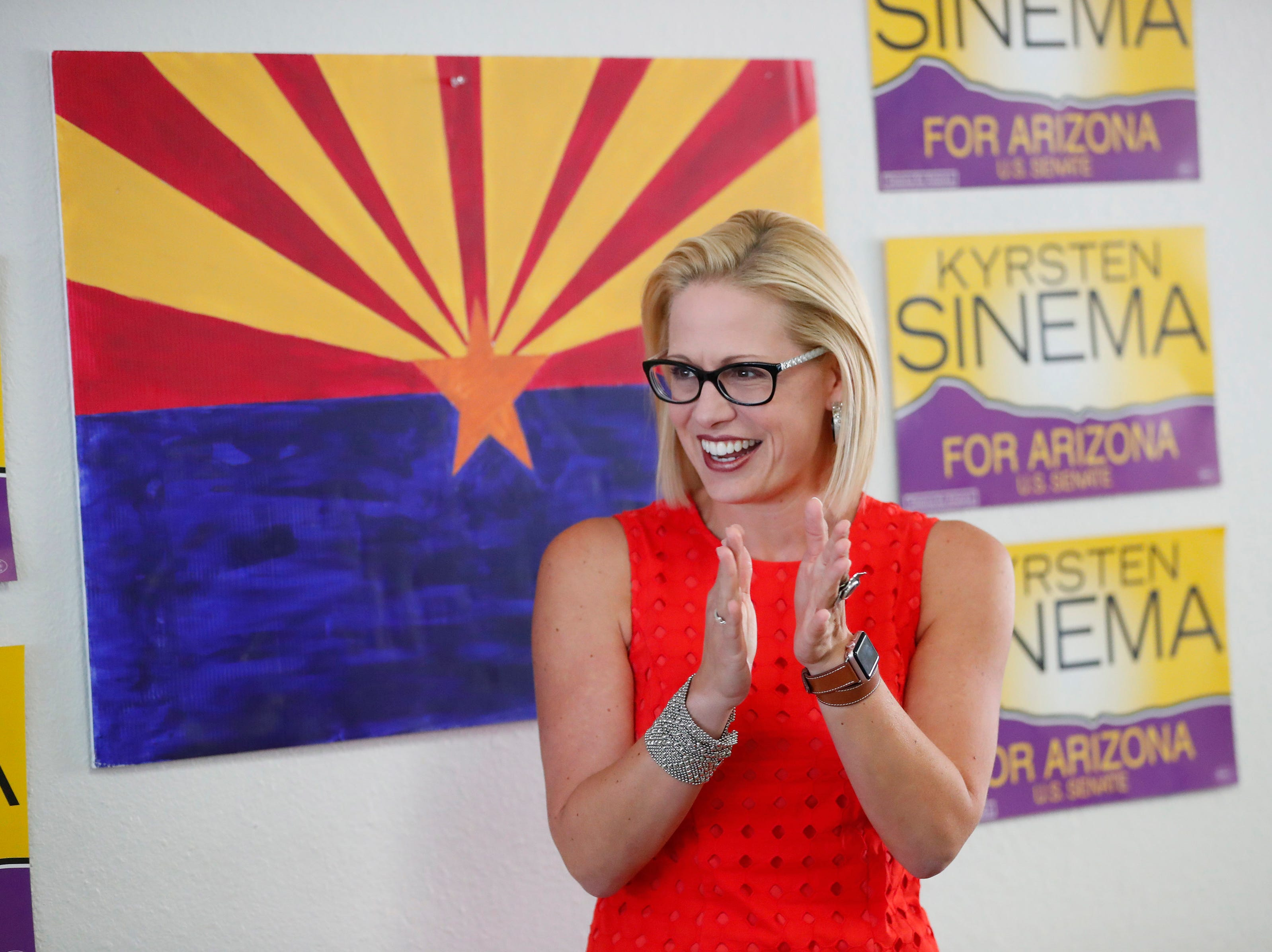 U.S. Rep. Kyrsten Sinema thanks volunteers at her field office in Phoenix Aug. 28. 2018. Sinema is vying for the Democratic nomination for the open U.S. Senate seat.