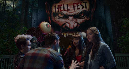 """(Left to Right) Bex Taylor-Klaus, Christian James, Reign Edwards and Amy Forsyth in """"Hell Fest"""" (Sept. 28)."""