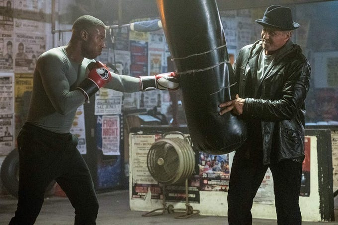 """""""Creed II"""" (PG-13): Adonis Creed (the totally ripped Michael B. Jordan) steps back in the ring under the guidance of mentor Rocky Balboa (Sylvester Stallone) to avenge his father's death by fighting Ivan Drago's son in a boxing match. 