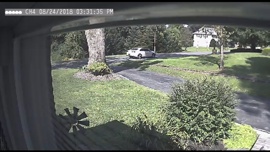 A newer model white, four-door Chevy Malibu with Delaware registration that is a suspect vehicle in the robbery of the Newmanstown branch of the Jonestown Bank & Trust Aug. 24, 2018.