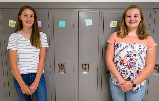 Marysville eight-graders Abigaile Nesbitt, left, and Kayleigh Wattle left notes of encouragement on the 700 lockers in the middle school. The notes are meant to encourage students on their first day of the school year.
