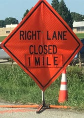 A sign near mile marker 15 warns motorists Tuesday of an upcoming lane closure on Interstate 81 southbound near Exit 14 (Pa. 316/Wayne Avenue).