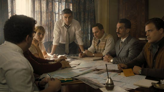 """From left, Melanie Laurent as Hanna Regev, Oscar Isaac as Peter Malkin, Nick Kroll as Rafi Eitan, Michael Aronov as Zvi Aharoni, and Greg Hill as Moshe Tabor in """"Operation Finale."""" The movie is playing at Regal West Manchester Stadium 13 and R/C Hanover Movies."""