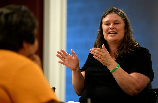 Kimberly Preske, a therapist and school violence recovery educator, presents a workshop to several area educators and community members on how to respond and the resources available following school violence, Monday, August 27, 2018.  John A. Pavoncello photo