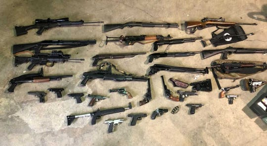 Police seized a total of 34 guns from Joshua Hutchins, 22, of York, who wasn't legally allowed to have them.