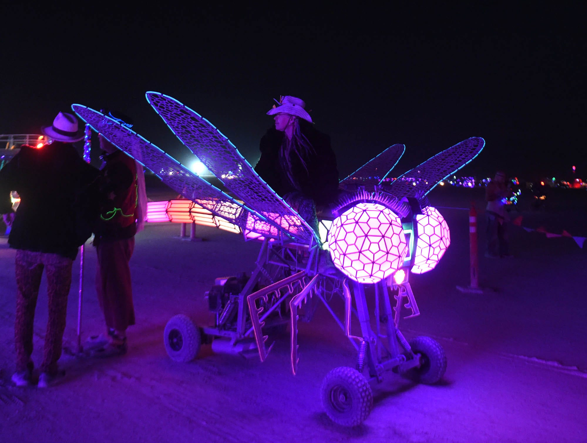 Check out the scene at night during Burning Man 2018 in the Black Rock Desert of Nevada.