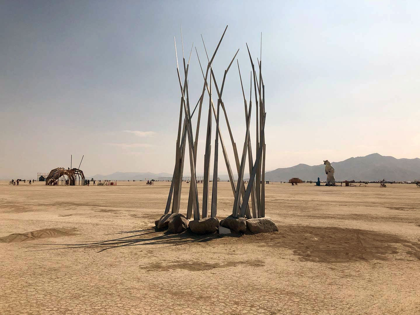 "A large, grass-like sculpture ""grows"" out of the playa at Burning Man 2018."