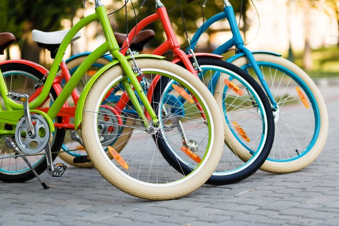 Brightly colored bicycles.