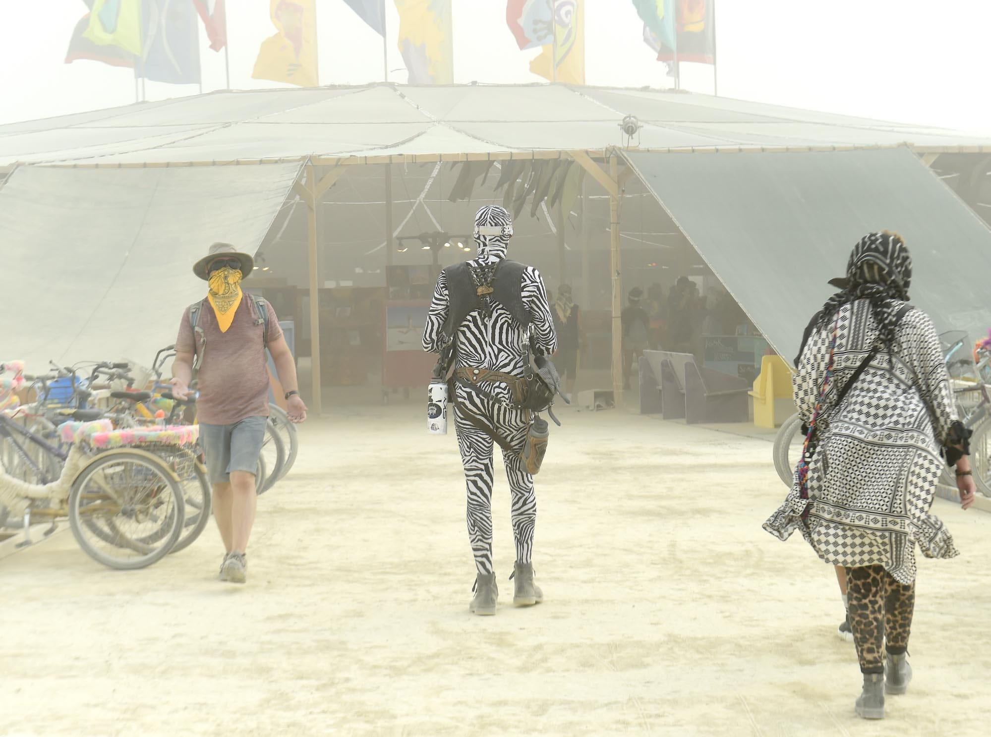 Images from a very dusty opening day at Burning Man on Sunday, Aug. 26, 2018.