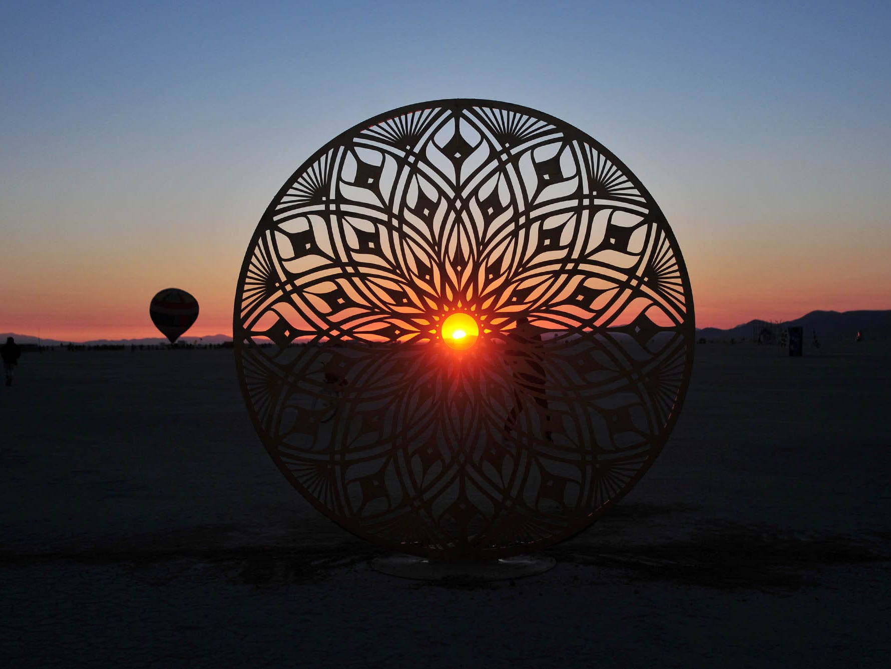 Images from sunrise at Burning Man on Tuesday August 28, 2018.