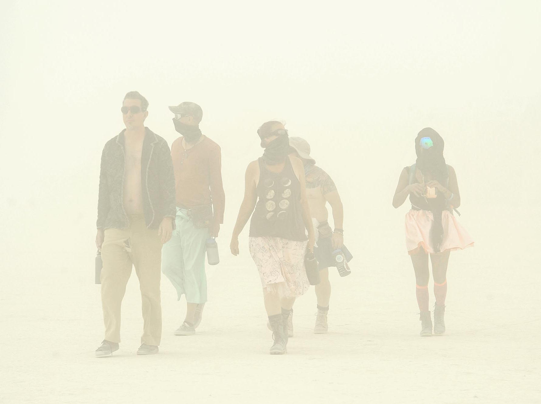 Images from a very dusty opening day at Burning Man on August 26, 2018.