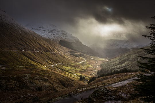 Colin McCready: :The Rest and be Thankful in the west of Scotland. The overlook was named at the end of the construction of the original road. Because of the nearby hills and mountains, the weather is very changeable.