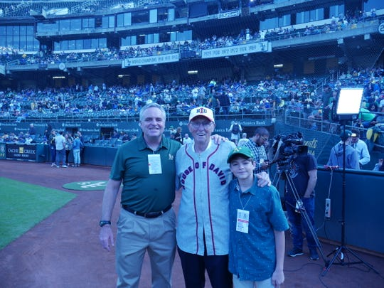 Ron Aiken (center) with son, Todd (left) and grandson, Nicholas, before the Oakland A's-Los Angeles Dodgers game at Oakland Alameda Coliseum on Aug. 8, 2018.