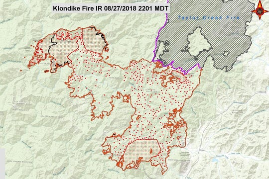 The perimeter of the Klondike Fire recorded August 27.