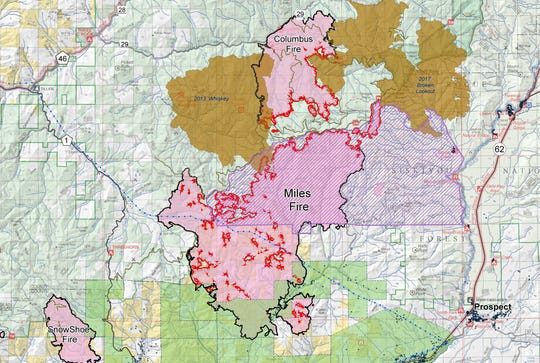 Boundary of the Miles and Columbus Fire as of August 25.
