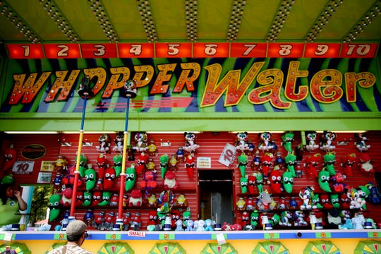 The Whopper Water water-shooter carnival game at the Oregon State Fair in Salem on Tuesday, Aug. 28, 2018.