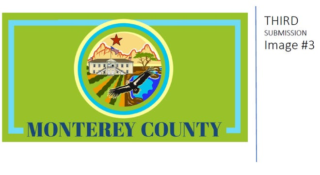 This flag was chosen as Monterey County's first official flag by the board of supervisors Tuesday. Designed by Priscilla  pays homage to farming, Pinnacles National Park, native wildlife and Colton Hall, where the state's first  constitution was signed.