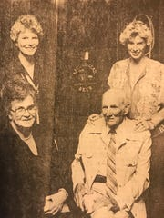 Sisters, Geneva, left, and Betty stand behind parents, Mr. and Mrs. John Zentner in this 1980 file photo. The family has owned several steakhouses in the Concho Valley since WWII. Not pictured is daughter, Patricia, who was also heavily involved in the family's businesses.