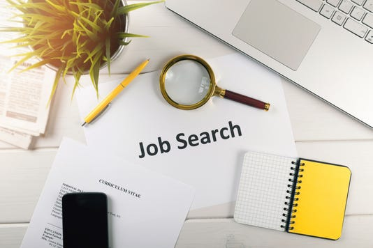 Job Search Items On White Table Top View