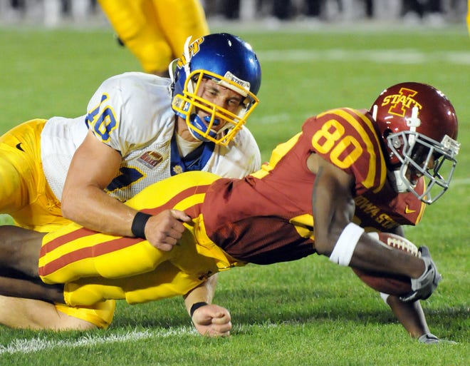 South Dakota State's Brock Campbell makes a tackle during the Jacks' 44-17 loss to Iowa State in 2008.