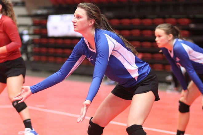 Sioux Falls Christian outside hitter Kylee Van Egdom during a match at the 2017 Class A state tournament in Rapid City.