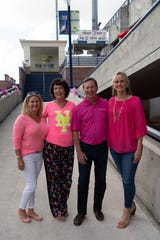 """Making Strides Against Breast Cancer event leadership, from left, Heather McAdams, Martin County; Denise Averill, St. Lucie County; Dennis """"Denny"""" S. Hudson III, Presenting Sponsor Leadership — Seacoast Bank chairman and CEO; and Laura McGarry, Indian River County."""
