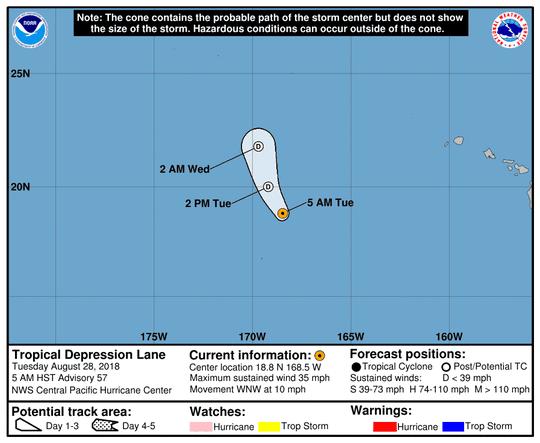 Tropical Depression Lane 11 a.m. Aug. 28, 2018.