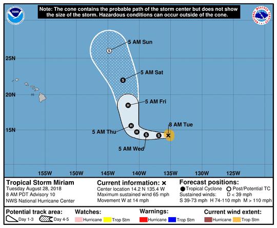 Tropical Storm Miriam 11 a.m. Aug. 28, 2018