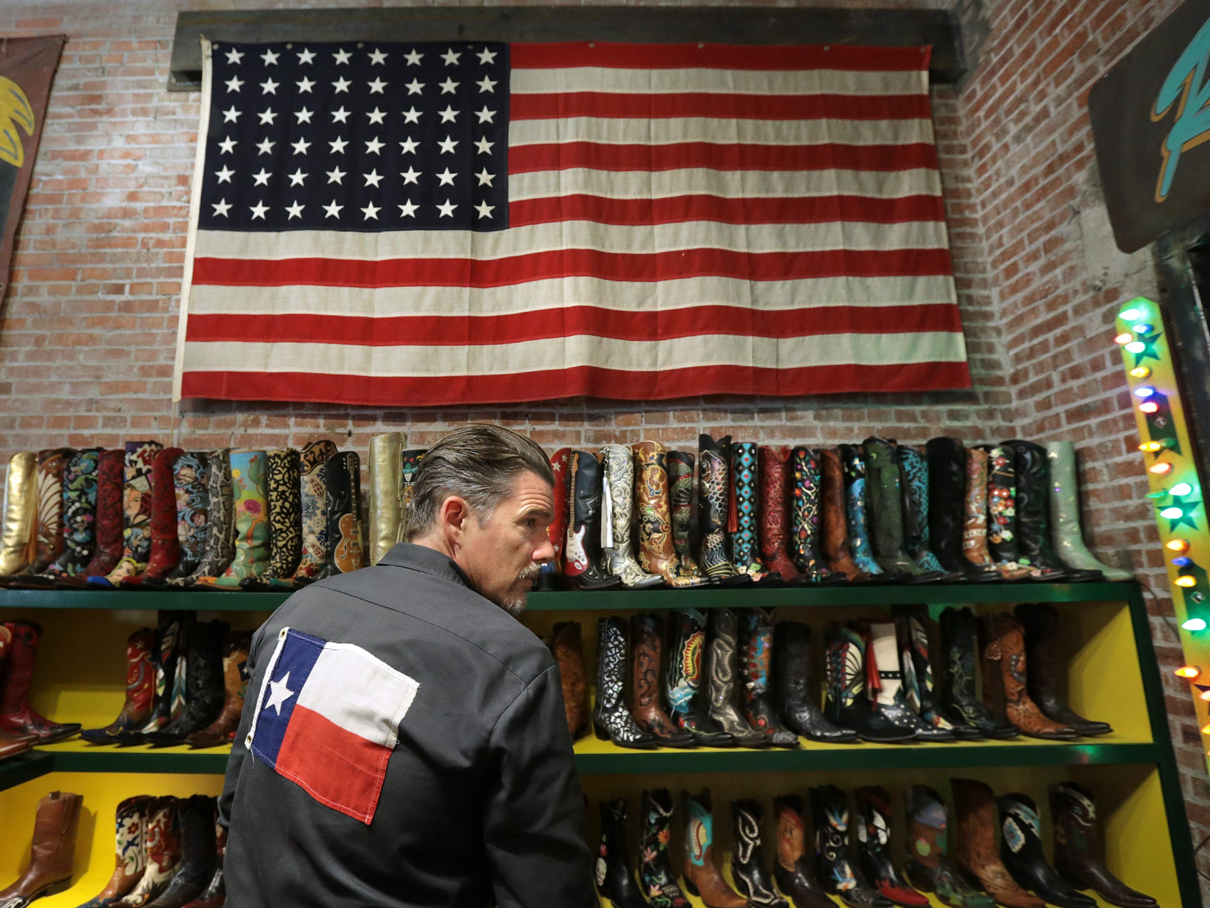 "Ethan Hawke toured Rocketbuster Boots with actor Ben Dickey in Downtown El Paso on Tuesday before screening their film ""Blaze"" at the Alamo Drafthouse Cinema-Montecillo."