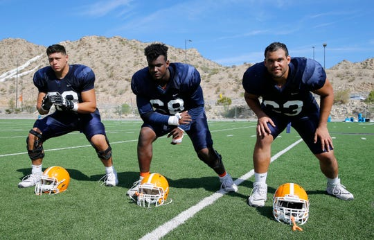 Offensive linemen Bobby DeHaro, Zuri Henry and Josiah Gray continue to improve as they and the rest of the Miners prepare for Northern Arizona University on Saturday in Sun Bowl Stadium.